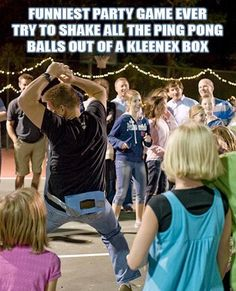 Fill a tissue box with PingPong Balls.. Tie tissue box belts around each players waist, making sure the tissue box is in the back. Put on some music and let the players shake their booties to the music. No touching the box with your hands or help from others. The object of the game is to be the first to bop all your balls out.
