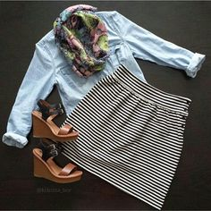 I love the striped skirt and contrasting pattern scarf.