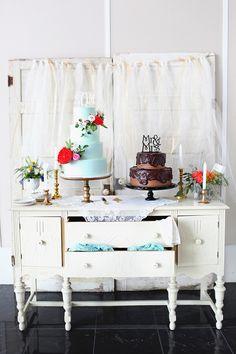 shabby chic cake table, photo by Poppy La'Rue Photography & Design http://ruffledblog.com/notwedding-athens #caketable #weddingcake