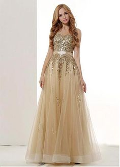 Bling Tulle & Stretch Satin Stapless Neckline A-Line Prom Dresses With Beads