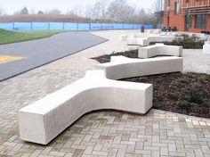 Branch Concrete Bench / Planter - shown in white