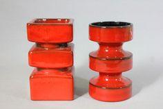 Vintage Mid Century Modern PAN Keramik Göbel Goebel Op Art SET Ceramic Vase and Ceramic Candleholder Red 1960s 60s WGP West German Pottery by Vinteology on Etsy