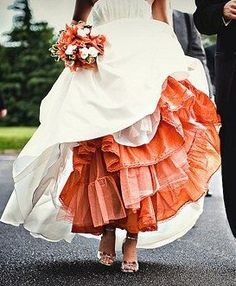 Colored petticoat/lace/slip under wedding dress; a really cute idea to give you a splash of color. (maybe something blue) Orange Wedding, Fall Wedding, Wedding Colors, Our Wedding, Wedding Gowns, Dream Wedding, Autumn Wedding Dresses, Yellow Wedding Dress, Making A Wedding Dress