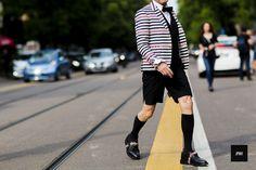 GQ Japan Editor in Chief Masafumi Suzuki wearing A Thom Browne suit during Milan Fashion Week Spring Summer 2016.