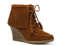 Minnetonka Fringe Wedge Bootie Boots Women's Shoes - DSW