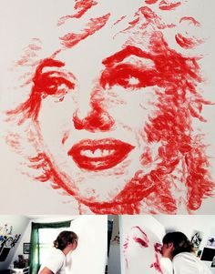 Marilyn Monroe painted using only her lips