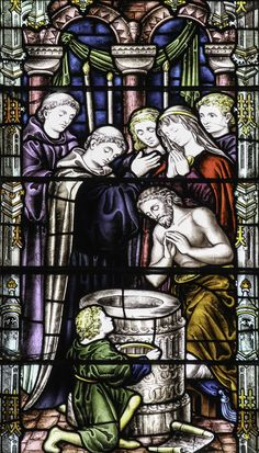 https://flic.kr/p/ErV8Px | Baptism of King Ethelbert | Today marks the 1400th anniversary of the death of Ethelbert, King of Kent who was baptised on Pentecost Day in 597, the first English king to convert to Christianity.  Stained glass from the Chapter House of Canterbury Cathedral.