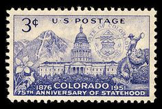 August 1, 1951: Colorado Statehood stamp with the Colorado Capitol Building in the center.