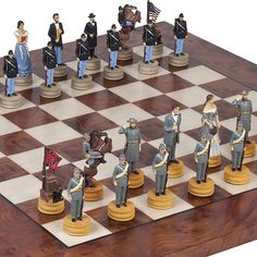Hand Painted American Civil War Chessmen  Agostino Luxury Chess Board from Italy King 3 18 *** You can get more details by clicking on the image.