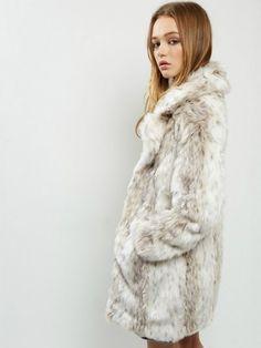 New Look Natural Manteau en fausse fourrure pelucheuse Lyst