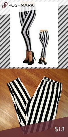 Cute striped leggings Nwot!  Super soft!  Says XXL but fits like a 1X. Only pair!! ?? Pants Leggings