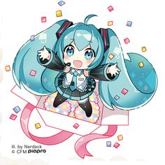 Nardack, Vocaloid, Hatsune Miku, Exposed Shoulders, Box, In a Box