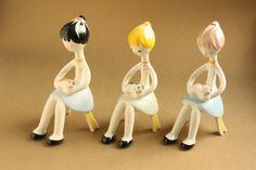 Aquincum - Ősz Szabó Antónia terve.  cicasimogató lányok Lany, Retro Art, Modernism, Hungary, Polymer Clay, Art Deco, Pottery, Ceramics, Dreams