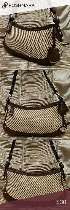 Banana Republic Leather Trim Tweed Handbag Authentic Banana Republic Handbag, small shoulder bag, braided strap, silver tone hardware, excellent condition Banana Republic Bags Shoulder Bags