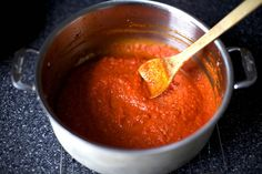 Tomato sauce, from fresh tomatoes. Because I have never made it this way ... can you believe it?