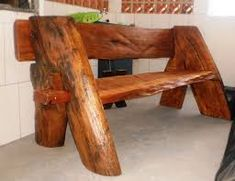 25 Extraordinary Creative ideas For Trunk Furniture, Rustic Log Furniture, Rustic Crafts, Wood Crafts, Burnt Orange Living Room Decor, Rustic Outdoor Spaces, Wood Slab, Wood Creations, How To Antique Wood