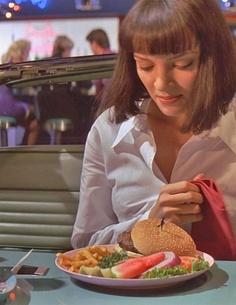 Pulp Fiction John Travolta, Uma Thurman, Samuel L. Jackson - Director: Quentin Tarantino IM. Mia Wallace, John Travolta, Kill Bill, Uma Thurman Pulp Fiction, Delicious Burgers, Tasty Burger, Quentin Tarantino Films, 1990s Films, Non Plus Ultra