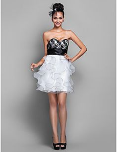 A-line Sweetheart Short/Mini Organza And Lace Cocktail/Prom Dress (751954)