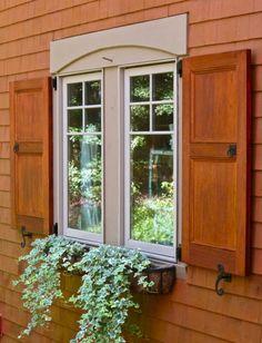 Modern Exterior Window Shutters Exterior Windows Shutters inside Wood For Exterior Shutters - Home Design Ideas Window Shutters Inside, Outdoor Window Shutters, House Shutters, Wood Shutters, Window Boxes, Window Ideas, Wood Exterior Door, Exterior Cladding, House Paint Exterior