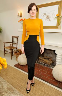 Structured goldenrod yellow on Michelle Dockery