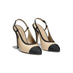 Slingbacks Lambskin & Grosgrain Beige & Black - view 2 - see full sized version Slingback Shoes, Shoes Heels, Pumps, Chanel Slingbacks, Chanel Brand, Elements Of Style, Chanel Shoes, Dream Shoes, Luxury Shoes