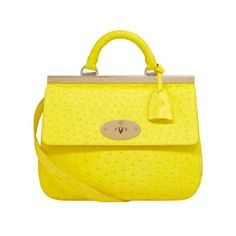 2013 Mulberry Small Suffolk Neon Yellow Ostrich