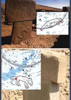 The Great Fox and Lesser Fox stones compared to modern star map Göbeklitepe Turkey