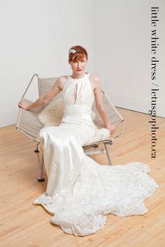 Sustainable Keyhole Wedding Dress with Lace Train - Eco friendly Wedding Dress - Handmade in CANADA