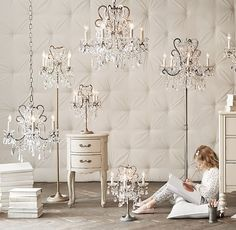RH Baby & Child's Manor Court Crystal 3-Arm Sconce - Aged Pewter:Inspired by an antique, our sconce looks as regal as the original. Scrolling arms are draped with strands of glass beads and faceted crystals in a mix of shapes and sizes.