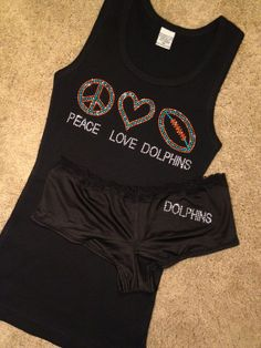 Miami Dolphins Bling Shirt and Dolphins Frederick's of Hollywood Rhinestone Crystal Bling Panty SET, Sexy Undies, Black, White, Red on Etsy, $32.99