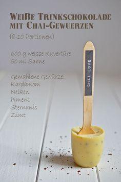 Rezept für selbstgemachte weiße Trinkschokolade mit Chai-Geschmack