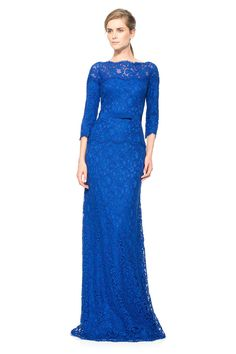 Wishesbridal Elegant Illusion Floor Length Royal Blue #Lace Sheath Column #MotherOfTheBride Dress B2cp0014