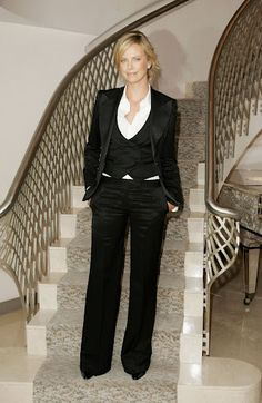 Women's tux with vest. See the neckline and pointed waist?
