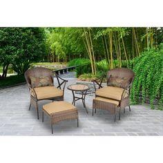 Conversation Patio Set Outdoor Leisure Set 5-Piece Garden Wicker Furniture Tan #1