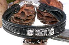 3B-584 Finely Made Sterling Silver & Leather New Bangle Wristband Men Bracelet.