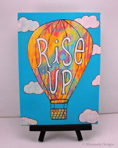 Rise Up ~ Hot Air Balloon mini canvas art by Blissmade Designs #mixed #media #journal