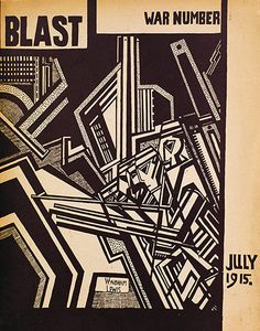 Blast |  Wyndham Lewis |  Conceived by the Anglo-American journalist and writer Wyndham Lewis, Blast was a short-lived journal that ran for just two issues as a manifesto for the avant garde art movement vorticism. As well as Lewis's manifesto, Blast contained poems and prose by Ezra Pound, TS Eliot and Ford Madox Ford, and reproduced the work of key modernist artists, such as David Bomberg, Edward Wadsworth and Jacob Epstein