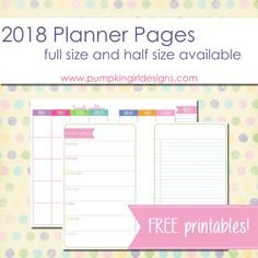 Free Printable 2018 Blank Planner Pages | Pumpkingirl Designs