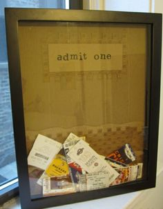 a place for tickets. memory box for all concert, baseball & football tickets... rather than throw away, this is a great way to display! slit at the top to drop in more tickets as the years go on!
