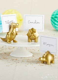 Dinosaur Place Card Holder (Set of milestone years only come once, and Kate Aspen's Dinosaur Place Card Holders make sure they're extra special! At a dinosaur birthday, the place card holder set has your table assignments taken care of, and Dinosaur Wedding, Dinosaur Birthday Party, 1st Birthday Parties, 2nd Birthday, Birthday Ideas, Pin On, Party Stores, Birthday Decorations, Dinosaurs