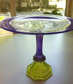 Pretty in Purple and Green Cake Pedestal Cupcake Plate. $20.00, via Etsy.