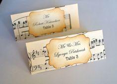 Schöne Hand gemachte Musik Themed Hochzeit Escort Karten Jahrgang oder schäbig-schicken Stil X 10 ( 9.07Euro)