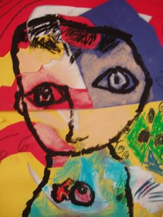 Matisse inspired Self-portrait. mixed media. abstract shapes. proportion