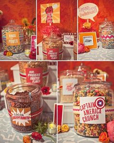 Cereal Bar! Guests will LOVEEEE this idea! Nostalgic, simple, and delicious.