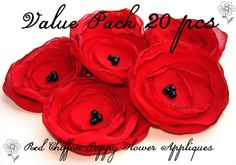 Value Pack Poppy Flower Appliques Handmade Red by LoraDesign, $19.00