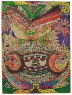 The Eyeglass-Butterfly in India by Adolf Wolfli, 1911. Pencil and coloured pencil.  Wolfli is featured in RV18 http://rawvision.com/articles/adolf-wolfli-archives  and in RV75 http://rawvision.com/articles/wolflis-sound-pieces