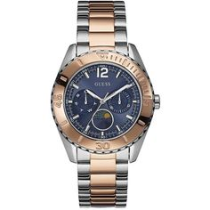 Guess Moonstruck Blue Multi Dial Rose Gold And Stainless Steel... ($265) ❤ liked on Polyvore featuring jewelry, watches, blue rose jewelry, stainless steel watches, guess jewellery, blue watches and blue dial watches