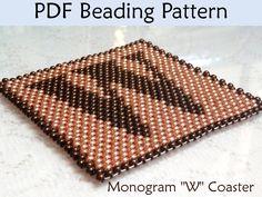 "Peyote Monogram ""W"" Coaster PDF Beading Pattern"