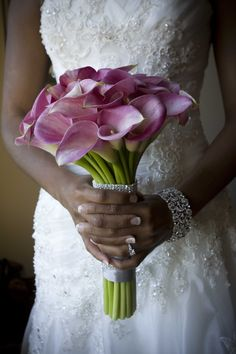 Love this bouquet - want to do calla lillies in this color - could use the left over part of the beaded belt from my dress for the wrap around the stems