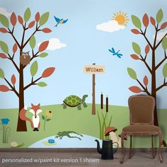 29 individual forest kids wall mural stencils 2 coordinating paint kits SOLD SEPARATELY --> VIEW personalize the trail sign with a custom name stencil paint